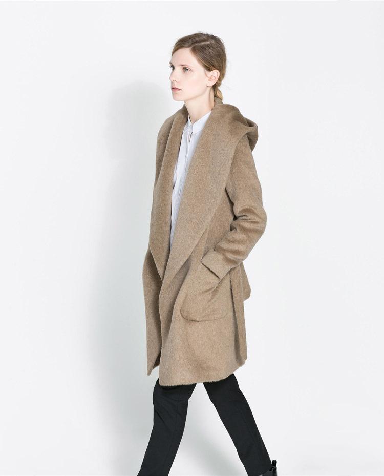 d936c1c3b64 Get Quotations · Brand New Winter Women Wool Coat Ultra-soft Deep Camel  Wool Coat Hooded Windbreaker Woolen