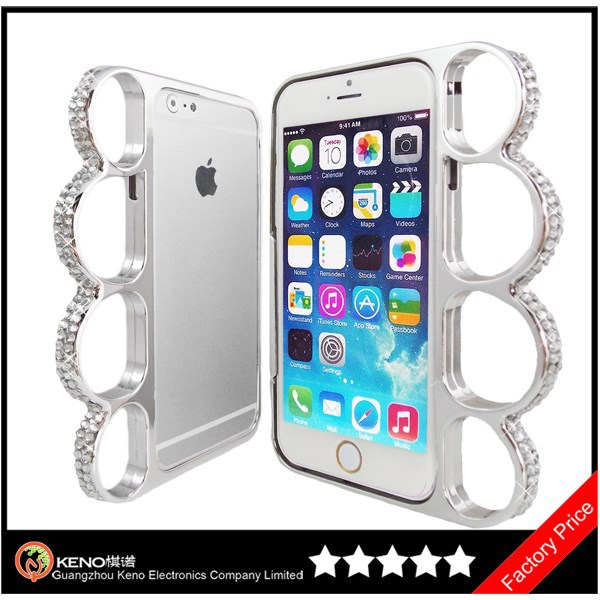 Silver Chrome Color Spike Knuckle Rhinestone Jewel Bling Bumper Case Cover for iPhone 6 Plus 5.5 Inch