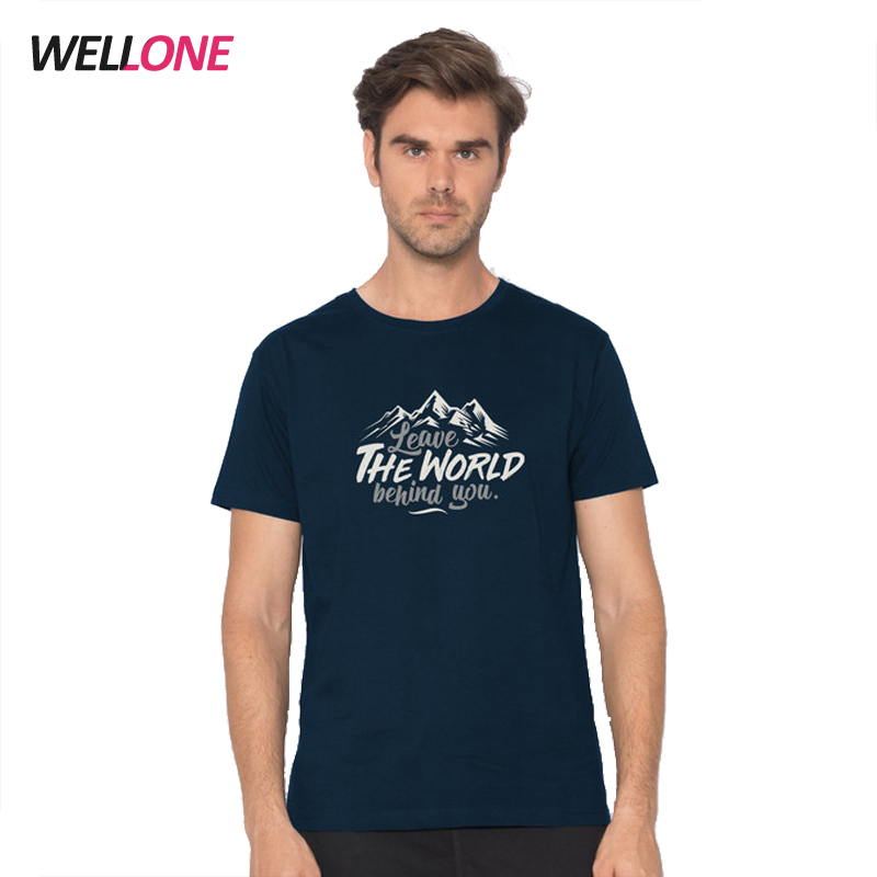 Guangzhou high quality short sleeve cotton elastane fashion chest silk screen printing custom navy scoop neck t shirt for men