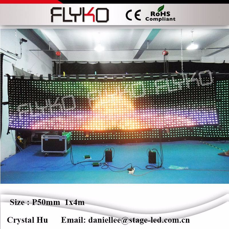 2016 New inventions soft LED video curtain P5cm 4m*1m