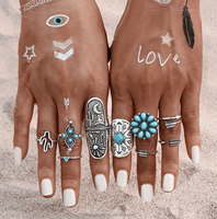 Fashion New 9pcs/Set Silver Color Stone Midi Ring Sets for Women Boho Beach Vintage Turkish Punk Knuckle Ring