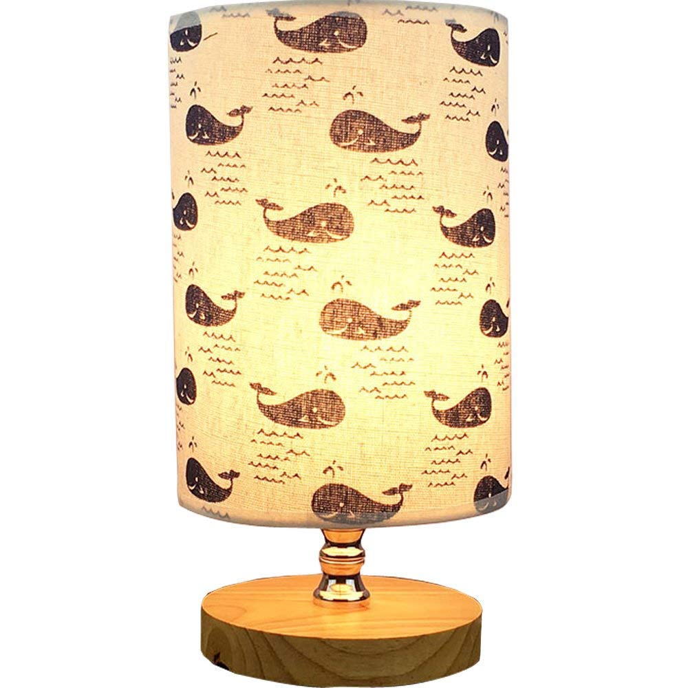 Bedside Table Lamp - VGAzer Nightstand Lamp with Wooden Base and Cute Cartoon Pattern Fabric Shade for Kids Room, Bedroom, Living Room, Dresser, College Dorm, Coffee Table, Bookcase(Whales)