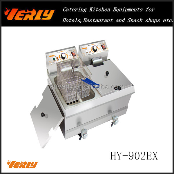 HOT SALE! Counter top rectangular 2 tank 2 basket electric deep fryer with oil faucet and CE approval fryer machine HY-902EX