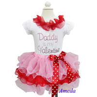 Girl Valentine's Day Light Pink Red Petal Tutu Plus Rhinestone Daddy is my Valentine White Short Sleeves Top 1-7Y