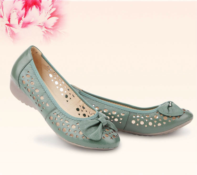New Style Camel/blue/white Bow Genuine Leather Open Toe Women ...