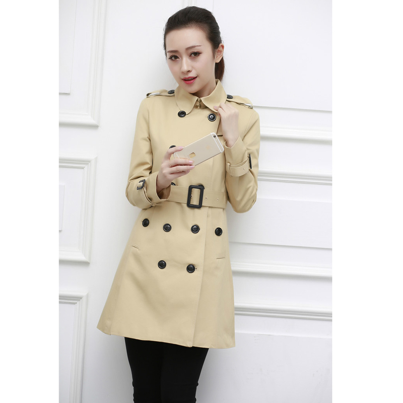 Double Breasted Solid Trench Coat Woman Slim Elegant Cotton Coat Ladies Long Trechcoat Turn-down Collar Windbreaker Women Coats