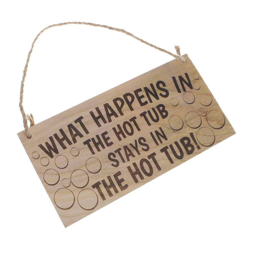 Baoblaze Vintage Wooden Hanging Plaque Home Wall Decor-What Happen In The Hot Tub