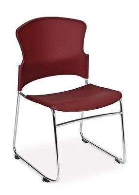 Plastic Stackable Medical Office Side Chair in Wine Color - Clinic Guest Seating