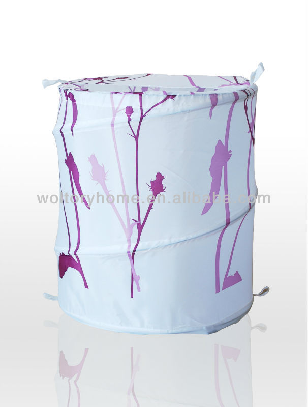 Foldable pop-up polyester Spring Luandry hamper, cylindrical pop-open Clothes Storage Laundry Basket Great for dorm room