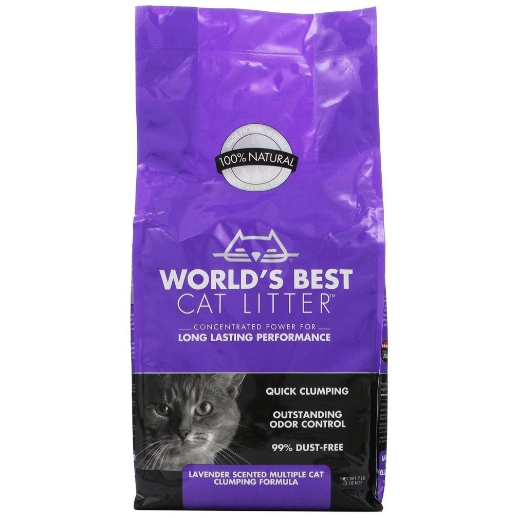 World's Best Cat Litter Cat Lavender Scented Multiple Cat Clumping Formula 7-Po