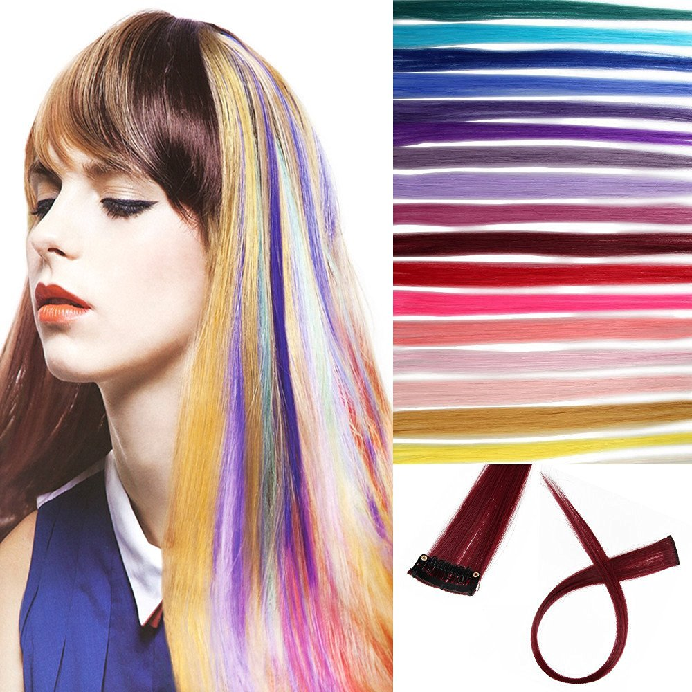 """Beauty7 Multi-Colors Pack of 20 Pieces Set 20 Inches Colored Clip in Straight Synthetic Hair Extensions Party Highlights Colorful 20"""""""