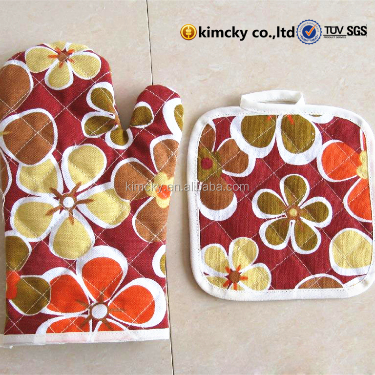 custom printed heat resistant cotton neoprene silicone oven mitt and pot holder