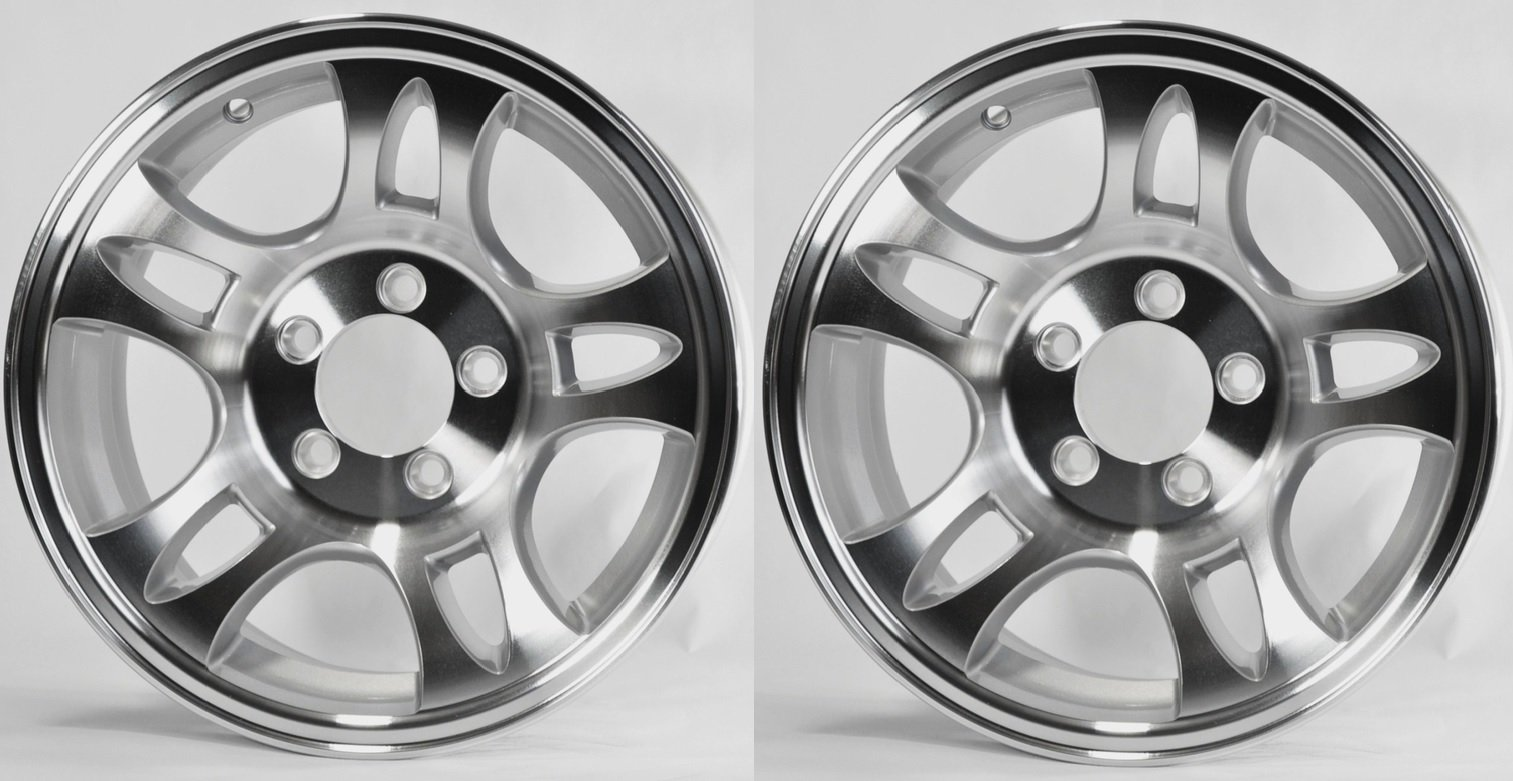 "eCustomRim TWO (2) Aluminum Sendel Trailer Rims Wheels 5 Lug 15"" T03 Split-Spoke Style"
