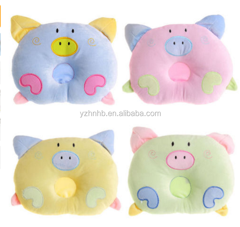 Newborn Infant Baby Pig Pillow Sleeping Support Prevent Flat Head Cushion Plush Animal Shape Cute Soft Pillow