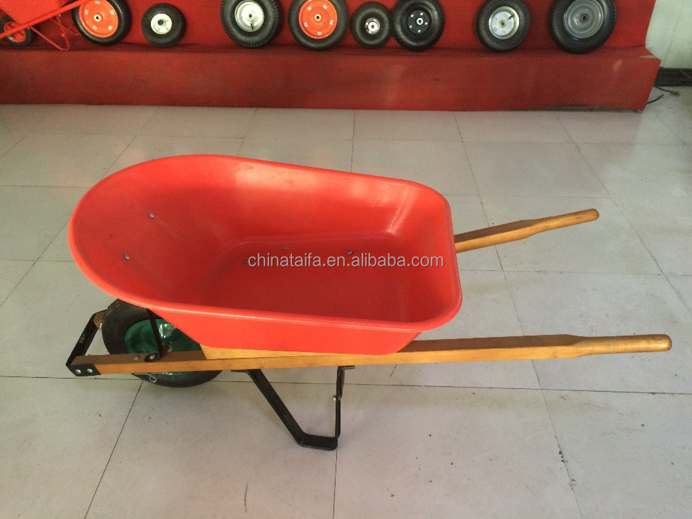Solid wood handles metal steel construction concrete wheelbarrow WH5400