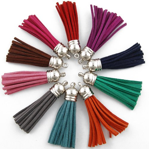 50PCS 5.5CM Mixed Colors Tassel Fiber Tassel Fringe Tassel with 12MM Silver Plated Caps Charms