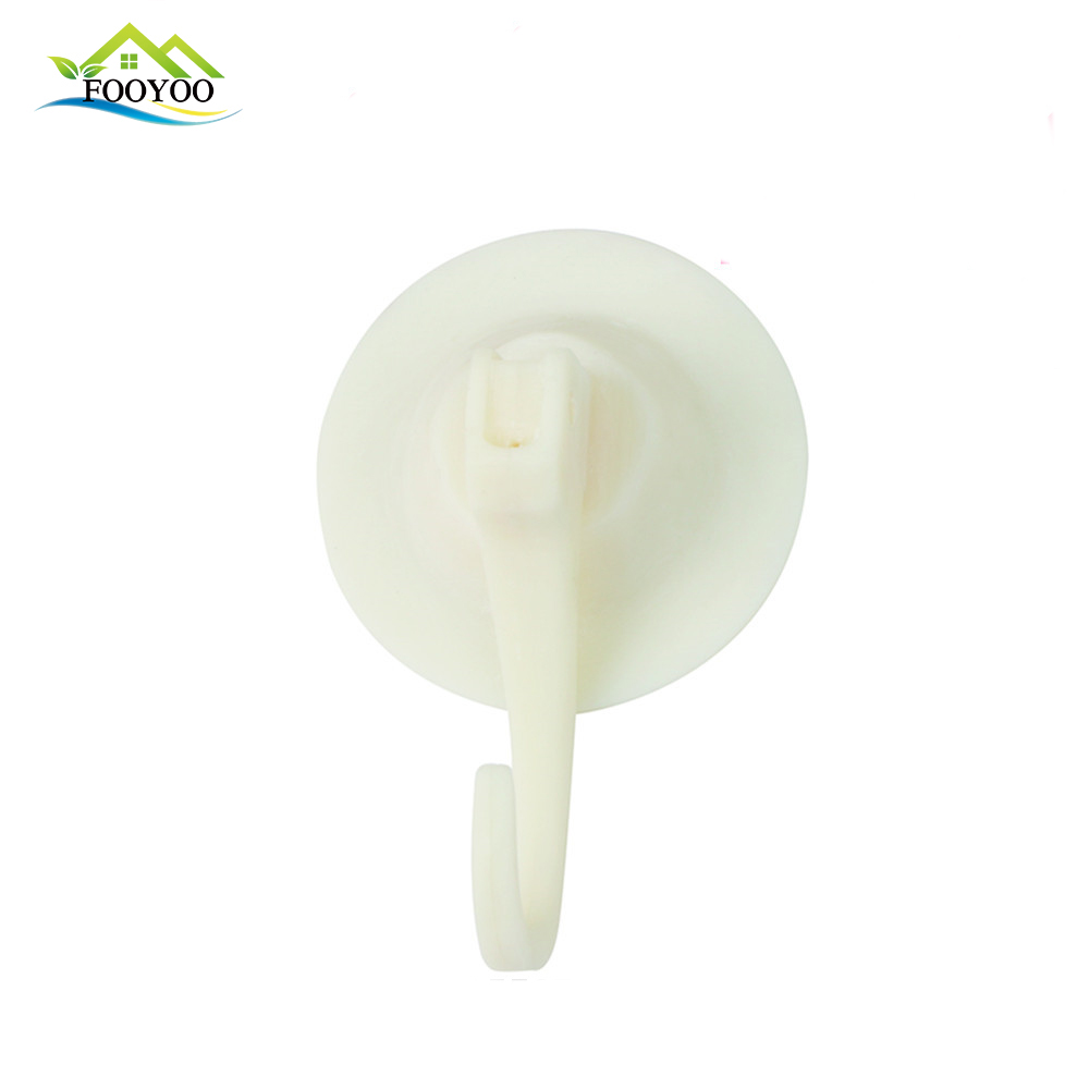 FOOYOO FY-0910 PVC+PP WHITE REUSABLE BATHROOM HOOK SUCTION CUP HOOK