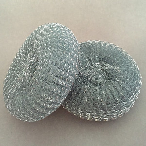 kitchen cleaning Galvanized wire mesh scourer / flat wire mesh cleaning ball