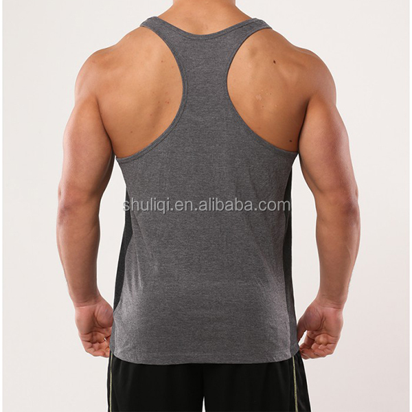 Professional clothing factory custom gold gym singlet, cotton mens tank top with woven label