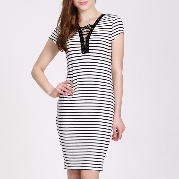 卸売ストリッププリント快適なselimセクシーなレディースファッションドレス