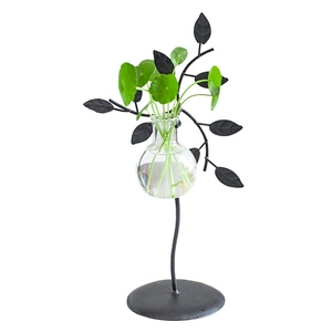 creative leaf wrought iron hydroponic glass vase for room decoration and water culture glass vase and crafts