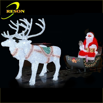 outdoor lighted reindeer carriage led christmas decoration