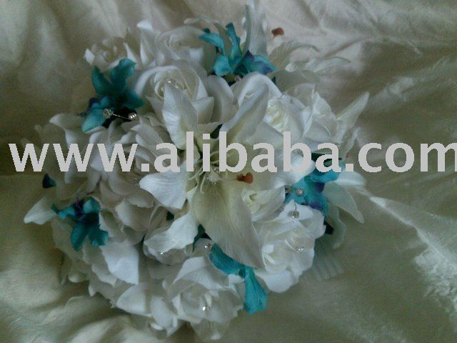 Wedding silk white Roses oriental lilies & blue orchids Flowers bouquet