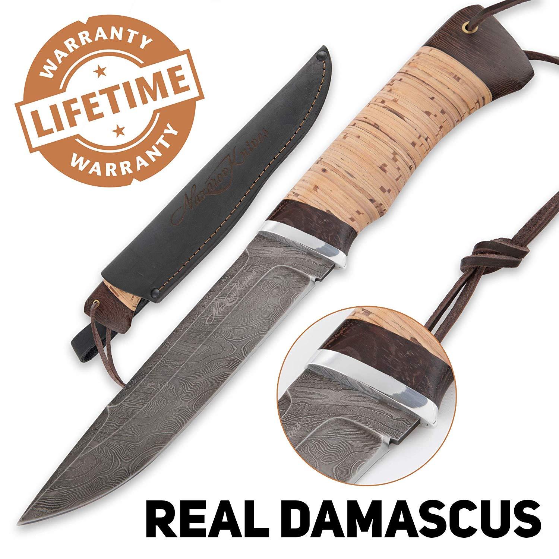 Nazarov Knives Fixed Blade Hunting Knife – Survival Knife – Real Damascus Steel – Birch Bark Handle – VEPR – Leather Sheath