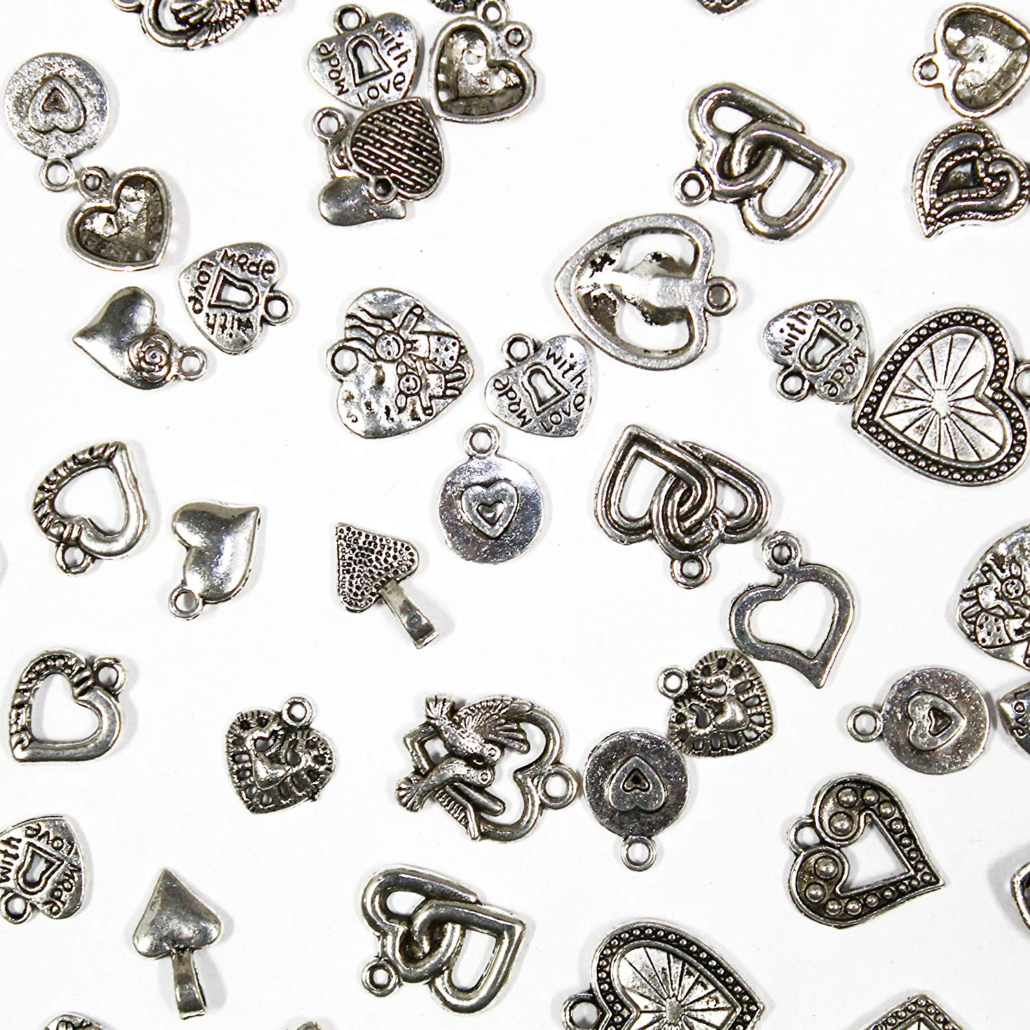 25 pcs Mixed antique Silver Hearts , Charms and Pendants