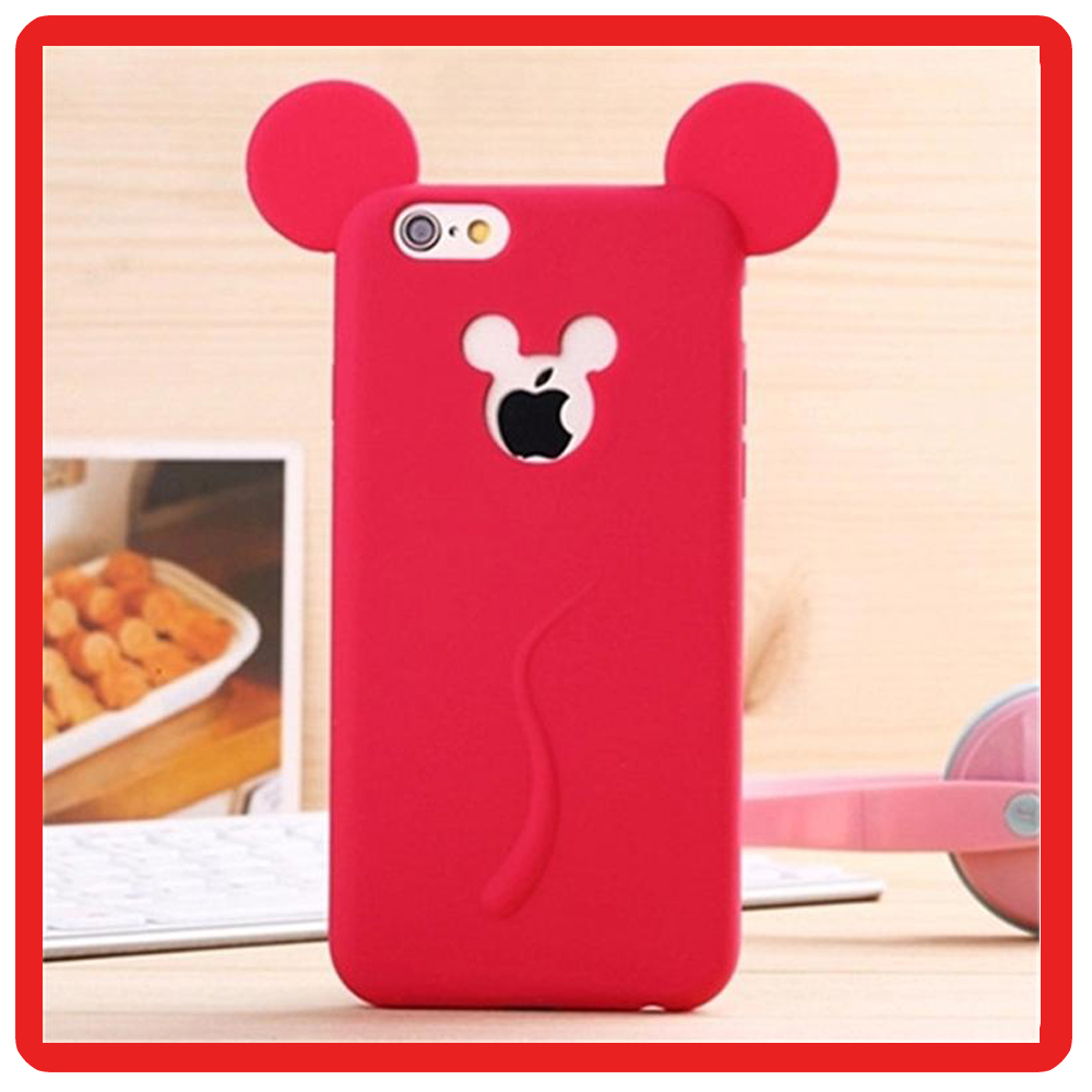 wholesale smart phone case Cute Candy Colors Colorful 3D Soft Mickey Mouse Ear Silicone Cartoon for iPhone 6 6s 7 plus Case