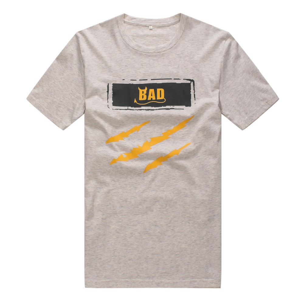 Soft cotton ash grey logo silk screen printing men 39 s t for Silk screen tee shirts online
