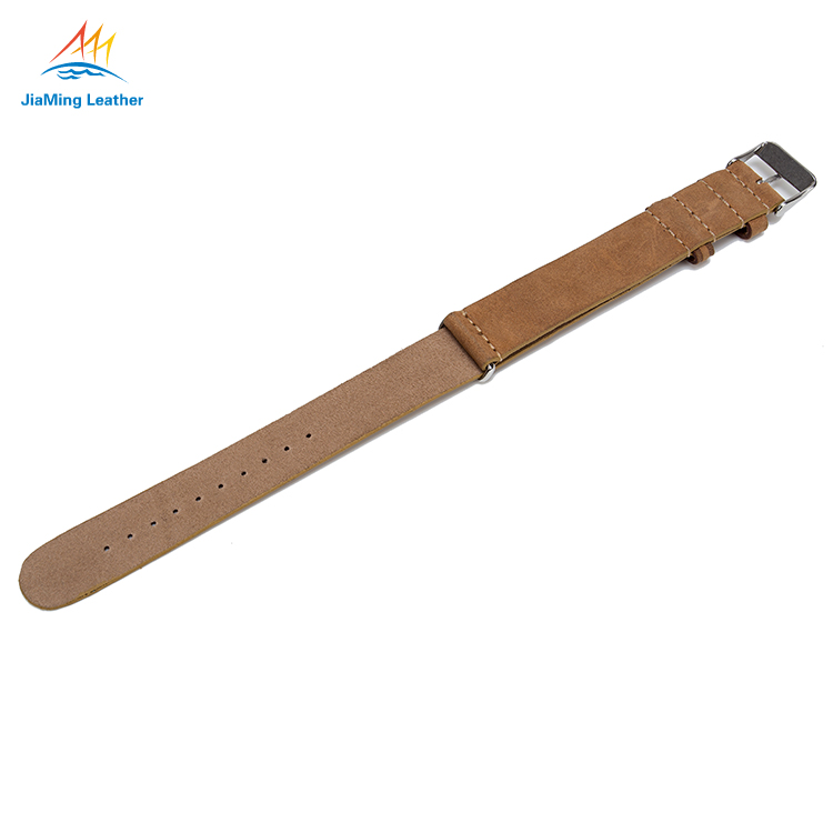 Genuine Cowhide Leather Nato Strap With Clasp