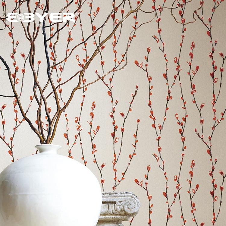 تصميم جديد النمط الصيني الجميل ورق حائط بلا حياكة للمطعم