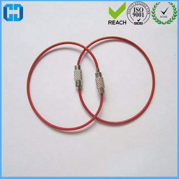 Factory Supply Red Stainless Steel Wire Rope Lock Luggage Tag Key ...