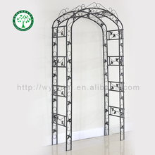 Artistic outdoor furniture decorative metal rose garden arch with leaves use for plants