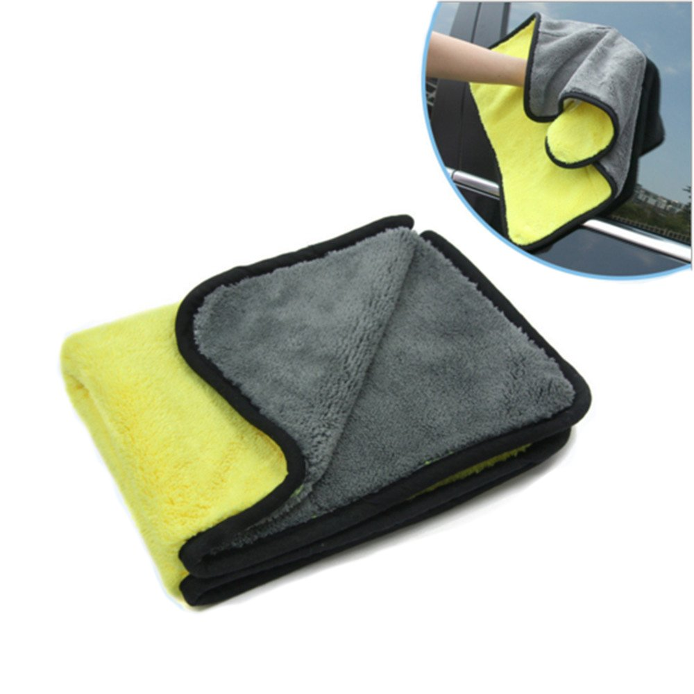 Car Cleaning Cloth,Diaoaokiss Microfiber Cleaning Cloth Ultra Thick Car Wax Buffing Towels Super Absorbent Drying Auto Detailing Towel 17.7x14.9 inches (Yellow/Grey)