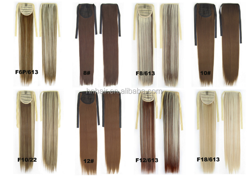 High quality Fashion Style Silky Straight Synthetic Hair Drawstring Ponytails