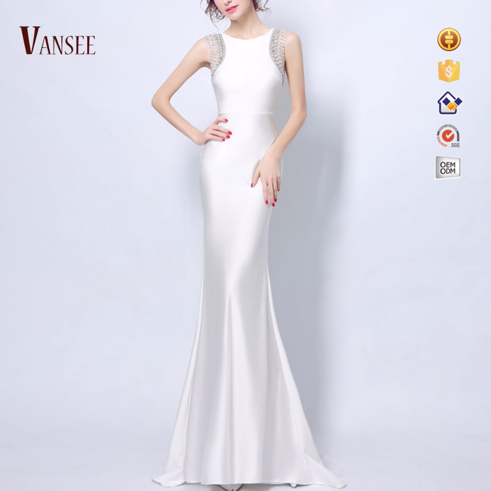 Sommer ärmellose seidige kleid schlank engen weißen elegante long tail cocktail-kleid trompete meerjungfrau abendkleid