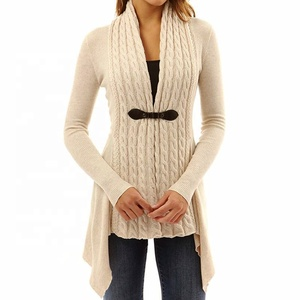 Women Buckle Braid Front Cardigan Knitwear