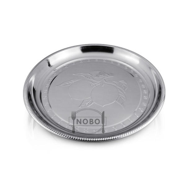 Serving tray stainless steel round plate with flat peach