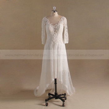 34 Long Sleeves Lace Beaded Front Short And Long Back Wedding Dress Buy 34 Long Sleeves Lace Wedding Dress Patternsbeaded Wedding Dressfront