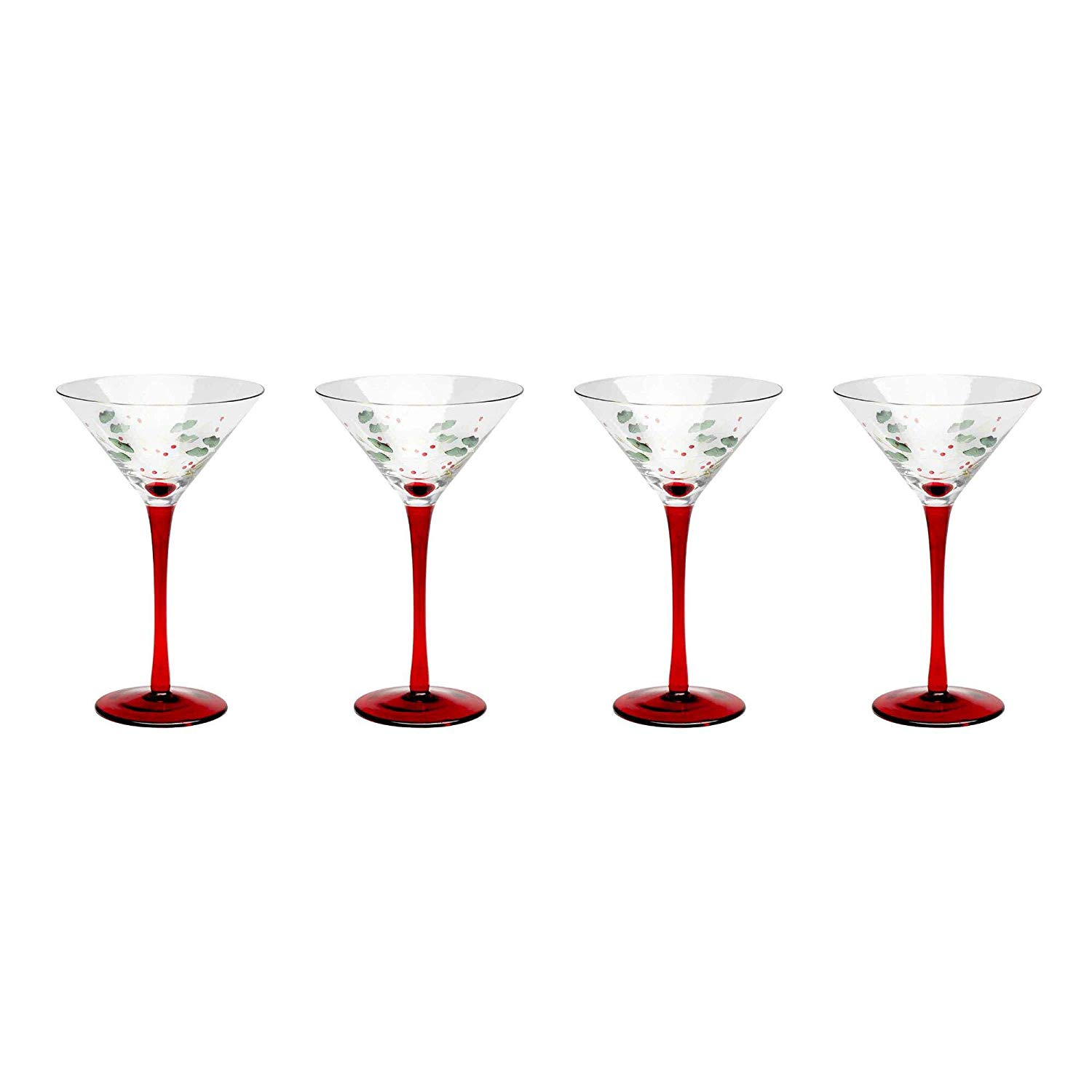 162962100e Get Quotations · Nantucket Home Holly Berry Christmas Holiday Red Stem  Martini Glasses