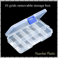 10 Slots Clear Plastic DIY Divider Container box Electronic Components Storage box