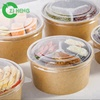 Salad bowl to go disposable kraft paper bowl with lid for hot food container