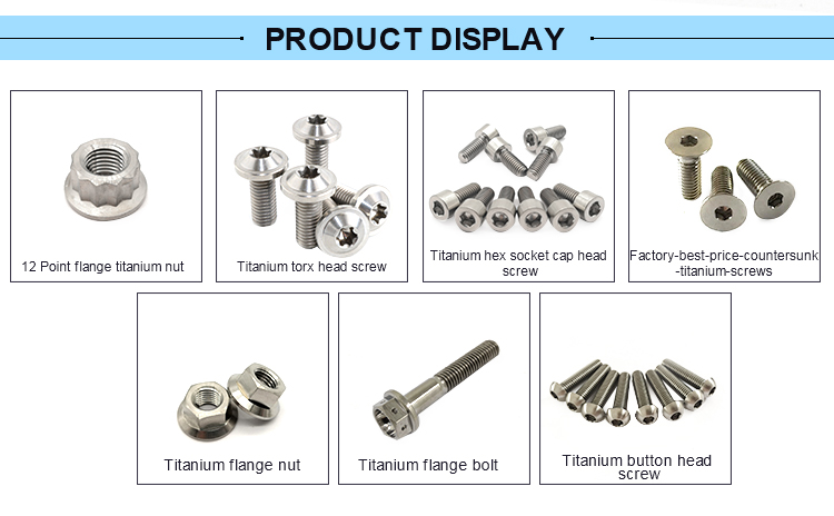 DIN7991 hex socket countersunk head gr5 Titanium  screw for industry