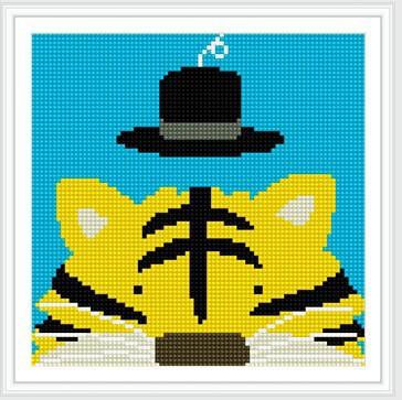 BZ066- 20*20 fram tiger with hat design diy diamond painting by numbers