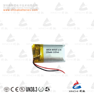 China Manufacturer 801525 3.7v 230 mah Li-ion Battery Rechargeable Lithium Polymer Battery for Bluetooth Headset