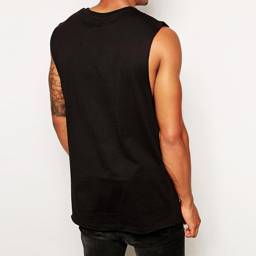 Longline Sleeveless Tank Top, Black Plain Dyed Vests,100%Cotton Men's Tank tops With Dropped Armhole