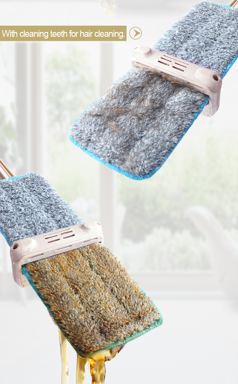 Popular hand-free squeeze floor microfiber cleaning flat mop