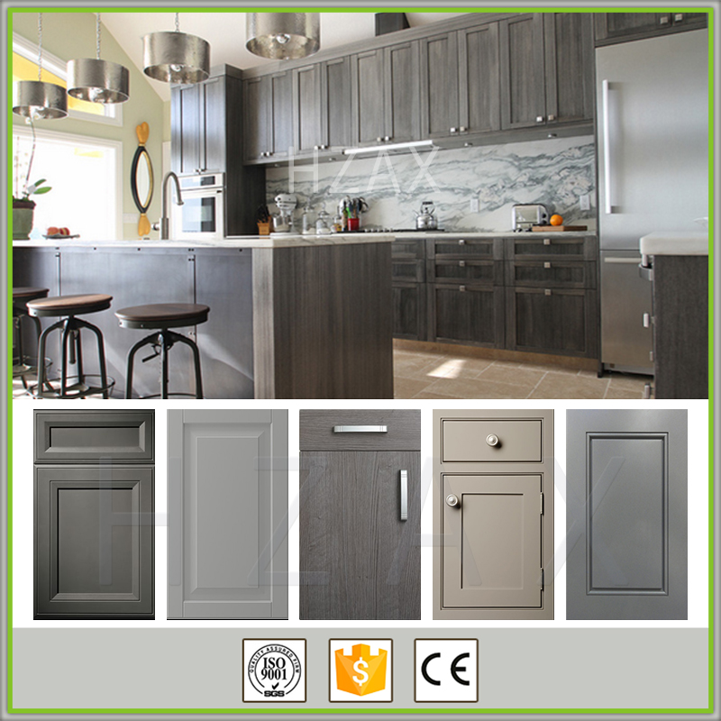 2017 New Design Modern Style Grey Color Painted Shaker Solid Wood Modular Kitchen Cabinet